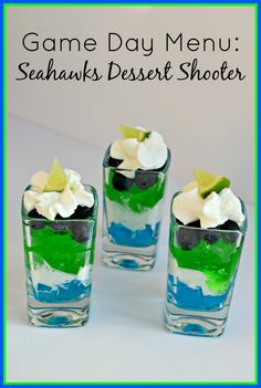Game Day Menu Idea: Seahawks Dessert Shooters The Coupon Project. I tried this with the Jolly Rancher jello and it's better with Jello brand. Yummy Treats, Delicious Desserts, Dessert Recipes, Seahawks Game Day, Seattle Seahawks, Seahawks Fans, Super Bowl 2015, Super Bowl Essen, Dessert Shooters