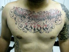Cool Men Chest Cursive Tattoo Font Fonts History And The Implementation