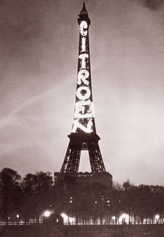 In 1925, André Citroën rented the Eiffel Tower and had the Citroën brand name emblazoned with 125,000 incandescent lights. The sign remained in place until the company went bankrupt in 1934, partly because of the incredibly high electricity bills.'    - CBS Money Watch