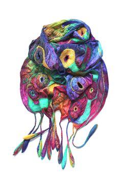 Nuno Felted Scarf by Marina Shkolnik: 50/50 extra fine Australian merino wool/mulberry silk, ponge silk fabric. via flickr