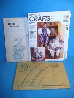 "McCall's 779 Country Mice 28"" Dolls Boy & Girl w/ Clothing & 20"" Doorstop  Uncut #McCalls"