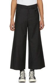 JW Anderson - Grey Cropped Cut-Out Trousers