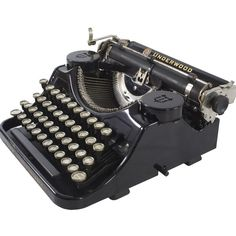 1930's Underwood Typewriter ($525) ❤ liked on Polyvore featuring home, home decor and black home decor