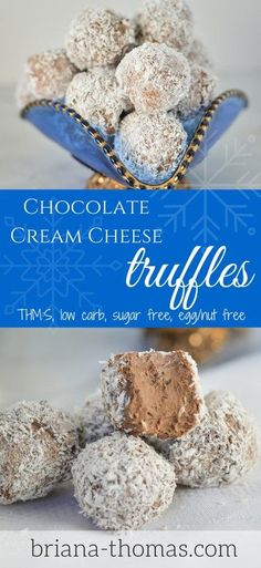 Chocolate Cream Cheese Truffles…THM:S, low carb, sugar free, egg/nut free Source by Candy Recipes, Low Carb Recipes, Dessert Recipes, Healthy Recipes, Healthy Foods, Diabetic Desserts, Sugar Free Desserts, German Desserts, Low Carb Sweets