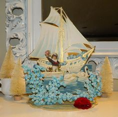"""BOAT Antique 10.5"""" GERMAN VICTORIAN DIE CUT VALENTINE CARD Fold Out Stand Up 3D"""