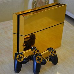 SP Gold Glossy Decal Skin Sticker for Playstation 4 Console+Controllers Can be found at Eb Games, Microplay Ps4 Console, Playstation 4 Console, Playstation Games, Ps4 Games, Games Consoles, Control Ps4, Deco Gamer, Mundo Dos Games, Best Gaming Wallpapers