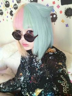 Pastel half and half pink and blue hair
