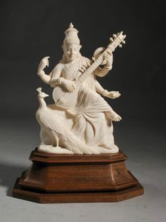 A large very fine carved ivory figure on original base - India - ca. Saraswati Goddess, Durga, Art Sculpture, Sculptures, Ganesh Photo, Amazing Food Art, Baby Buddha, Lord Vishnu Wallpapers, Lord Shiva Painting