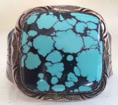 EXCEPTIONAL NAVAJO SPIDERWEB TURQUOISE & STERLING CUFF STAMP/SIGNED 51 GRAMS