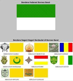 Bendera Daerah Istimewa Kalimantan Barat (De Staat West Borneo) beserta Negeri - Negeri yang tergabung didalamnya 1946 - 1950