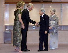 King Philippe, Queen Mathilde, Japanese Emperor Akihito, Japanese Empress Michiko.   13-10-2016