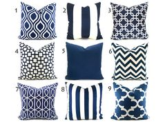 Pillow Covers ANY SIZE You Choose Decorative Pillow Cover Navy Blue Pillow Ikat Pillow Chevron Pillow