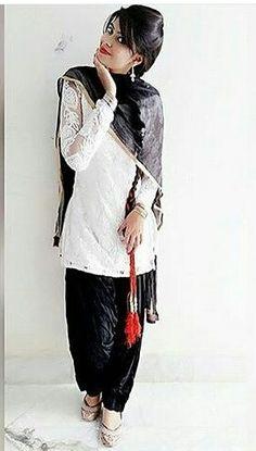 Black and white punjabi suit
