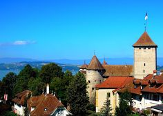 Within the fortified city of Murten, Switzerland