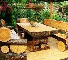 Outdoor Log table and Chairs!