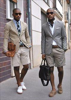 Blazer and shorts.