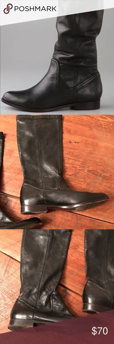 """Frye Cindy Slouch boot in black Black Frye Cindy Slouch boot. Gently used. Originally $298.  These pull-on leather boots feature tonal topstitching and seam detail. Hidden pull tabs at top. 1"""" stacked heel. 14.5"""" shaft and 15"""" circumference. Non-slip rubber patch at leather sole. Frye Shoes Winter & Rain Boots"""