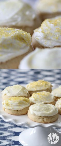 These Frosted Lemon Cookies with Lemon Cream Cheese Frosting a great treat for spring! Lemon Recipes, Baking Recipes, Cookie Recipes, Dessert Recipes, Party Recipes, Baking Ideas, Yummy Recipes, Spring Desserts, Crack Crackers
