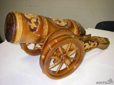 Сувенирная пушка деревянная держатель для бутылок