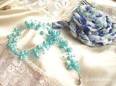 Blue Pearls Silk Flower Necklace Earrings Gift by gabibadea123