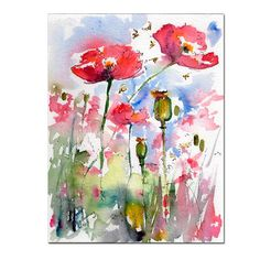 Pink Poppies Pods and Bees Original Watercolor Still Life by Ginette Callaway , Original Painting - Ginette Fine Art, The Art of Ginette Callaway  - 1