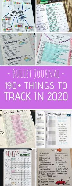 Our Bullet Journal Dot Grid notebooks are perfect for 2018 goals. Bullet Journal Tracking Spreads - So many brilliant spreads here from tracking weight loss and water to chores and car maintenance!