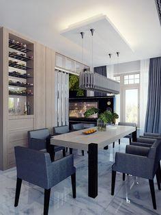estantes para el vino en el comedor moderno
