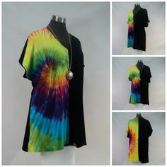 Plus size 2X rainbow tie dyed/colour-blocked  top with flared hips, V-neck and cap sleeves. by qualicumclothworks on Etsy