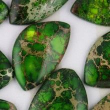 Green Impression Jasper Cabochons