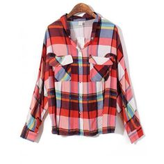 Loose Plaid Bat Sleeve Blouse with Double Pocket Red