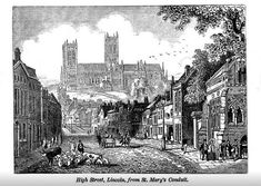 Take a trip into the past along Lincoln High Street . Lincoln Cathedral, Medieval, The Past, England, Journey, History, Street, City, Painting