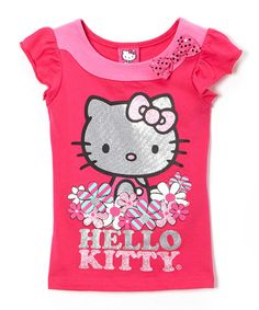Another great find on #zulily! Pink & Silver Flower Hello Kitty Tee - Girls #zulilyfinds