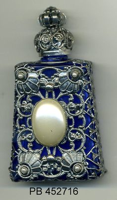 Perfume Bottle, aroma bottle, essential oil vial, Bohemia Glass royal blue bottle with silver filigree with pearl stones PB 452716