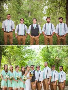Groom and groomsman looks: khaki pants, teal suspenders and bow ties. But reverse with the men, the groom in suspenders and the groomsmen in vests. Groomsmen Attire Khaki, Groom And Groomsmen Looks, Bridesmaids And Groomsmen, Groom Attire, Bridesmaid Dresses, Khaki Wedding, Wedding Men, Wedding Groom, Wedding Attire