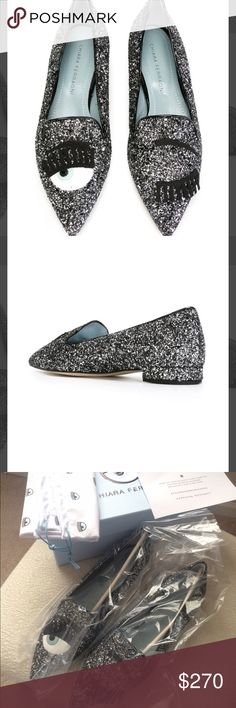 CHIARA FERRAGNI Flirting Eyes Slippers Eur 38 Brand new with box and dust bag. Authentic!! Eur size 38 fits us women size 7.5-8.  Black leather 'Flirting' glitter slippers from Chiara Ferragni featuring a pointed toe, eye appliqu detailing, a contrast piped trim, a branded insole and a flat heel. Lining Composition: Leather 100% Sole Composition: Leather 100% Outer Composition: PVC 100% Made in Italy CHIARA FERRAGNI Shoes Slippers