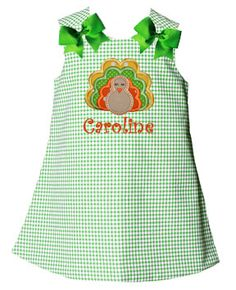 Lolly Wolly Doodle Green Turkey Gingham Aline 6/19