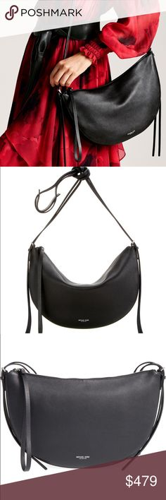 NWT Michael Kors Sedona Medium Italian Leather Bag Never been used. Color is black. A duo of elongated, slender straps highlight the chic crescent silhouette of an elegant bag fashioned from smooth leather. With straps adjustable for over-the-shoulder or crossbody styling, a spacious, sueded interior and understated logo stamp, this is sure to be a new favorite in your collection. Has Top zip closure, Adjustable straps with buckle closures, Interior zip and wall pockets. It is Lined. 100%…