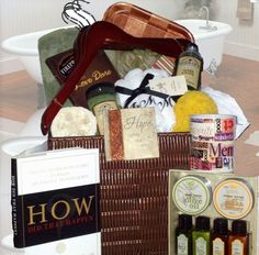 """Zotorius Creations Gift Baskets, LLC ~ """"Like"""" us on Facebook!  """"Man Down"""" this baskets consist of the following items:  *Rattique storage crate made by Essential Home * 100 % cotton bath towel wrap by Coexist Cannon wear * Set of five wooden dress shirt hangers * Body works by Village Naturals Therapy mineral bath soak & liquid mineral bath for aches & pain relief with eucalyptus, rosehips & chamomile scented aromatherapy * Olive green soft memory padded spa bath mat * Words with Friends…"""