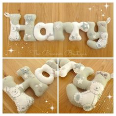 Personalised felt name banner / chain / garland by The Banner Boutique. Made to coordinate with nursery colour scheme.