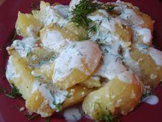CAIETUL CU RETETE: Cartofi noi cu iaurt si marar Romanian Food, Romanian Recipes, Potato Salad, Recipies, Appetizers, Cooking Recipes, Meat, Chicken, Ethnic Recipes