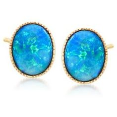 Ross-Simons Blue Opal Doublet Stud Earrings in 14kt Yellow Gold