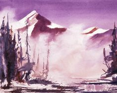 Snow Winter Mountains Mist Lake 8 x 10 Giclee Watercolor Signed Print Devereux