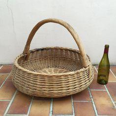 Basket Wicker Rattan HUGE SIZE Laundry Basket Shape Farm House vintage french