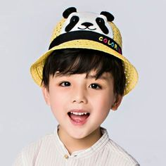 776663f8405 Panda bucket hats with ears and tail summer straw sun hat for kids