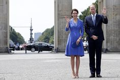 The Duke and Duchess wave to well-wishers as they visit the historic Brandenburg Gate in Berlin, the most recognisable symbol of Germany, both as a divided nation in the bleak days of the Cold War and as one of the powerhouses of Europe in its post-1990 reunified state