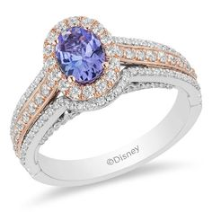 Enchanted Disney Ariel Oval Tanzanite and CT. Diamond Double Frame Engagement Ring in Two-Tone Gold - Dream wedding - Engagement Rings Engagement Wedding Ring Sets, Engagement Ring Settings, Diamond Engagement Rings, Tanzanite Engagement Ring, Disney Engagement, Diamond Cluster Ring, Halo Diamond, Diamond Cuts, Sapphire Diamond