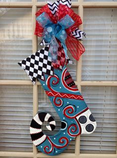 Christmas Door Hanger Wood Stocking Door Hanger by TheRedWoodBarn