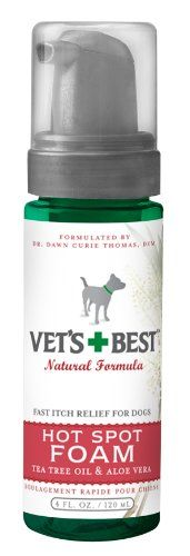$7.99-$7.99 Dogs have more delicate skin than we do, which means repeated visits to the vet.  Dry, flaky, itchy, raw shin conditions often go more than skin deep.  Our natural skin formulas have a long track record of helping avoid that vicious cycle.  Vet's Best Hot Spot Foam is a no-mess foam application to apply directly to sore hot spots.  Our gentle, alcohol-free foam helps quickly cal and r ...