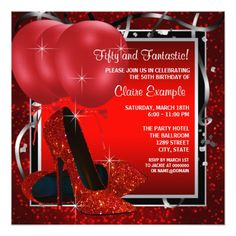 womans red fabulous 65th birthday party invitation happy birthday