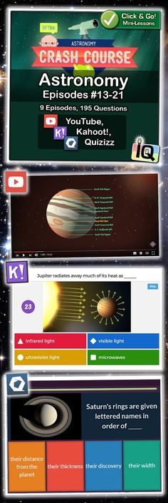 Learn about the moons of Jupiter, the rings of Saturn, and all of the planets in our solar system with these instant mini-lessons!